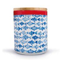 Банка фарфоровая с бамбуковой крышкой Fish pdb08