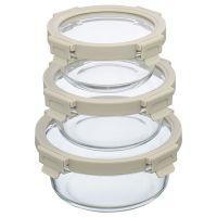 Набор из 3 круглых контейнеров для еды светло-бежевый Smart Solutions ID301RD_7534C
