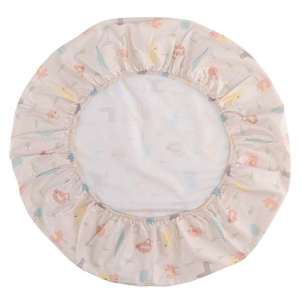 Простыня круглая на резинке из сатина с принтом animalia world из коллекции tiny world, 75х75х20 см TK20-KIDS-FS0034