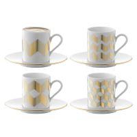 Набор из 4 чашек для кофе с блюдцами signature chevron, золото P055-01-146
