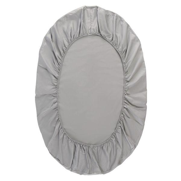 Простыня овальная на резинке из сатина светло-серого цвета из коллекции essential, 75х125х20 см TK20-KIDS-FS0026