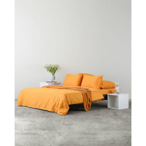 Комплект постельного белья полутораспальный из сатина цвета шафрана из коллекции wild TK20-DC0007