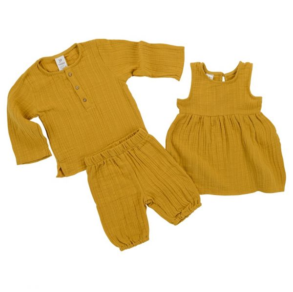 Шорты из хлопкового муслина горчичного цвета из коллекции essential 3-4y TK20-KIDS-SHO0004