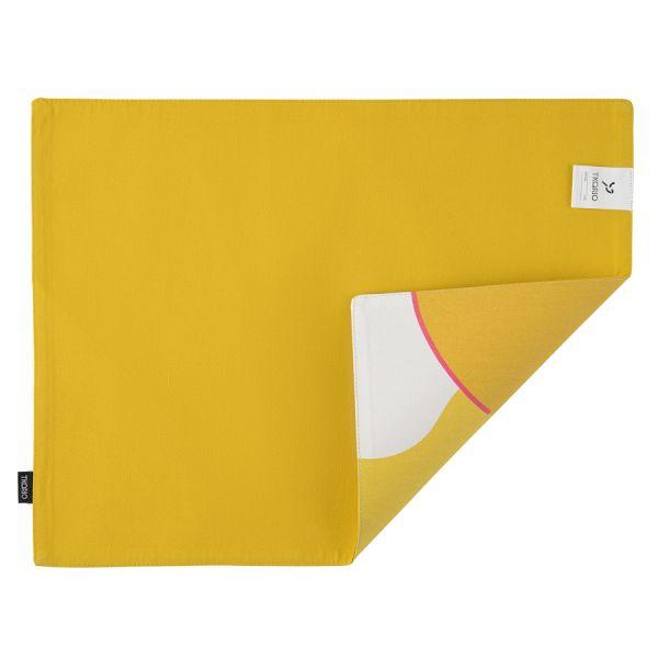 Салфетка двухсторонняя под приборы из хлопка горчичного цвета с авторским принтом из коллекции freak fruit TK20-PM0006