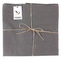 Скатерть на стол из умягченного льна с декоративной обработкой темно-серого цвета essential, 143х143 TK18-TC0016
