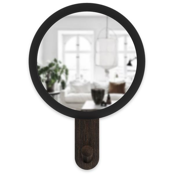 Зеркало-вешалка Hub черное/орех Umbra 318410-048