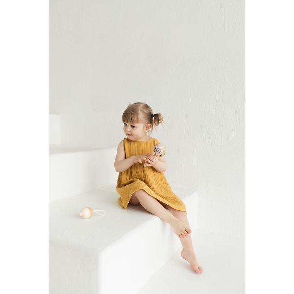 Платье без рукава из хлопкового муслина горчичного цвета из коллекции essential 24-36m TK20-KIDS-DRS0003