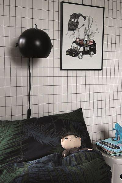 Лампа настенная ball с подвесом, черная матовая, черный шнур 43546505001