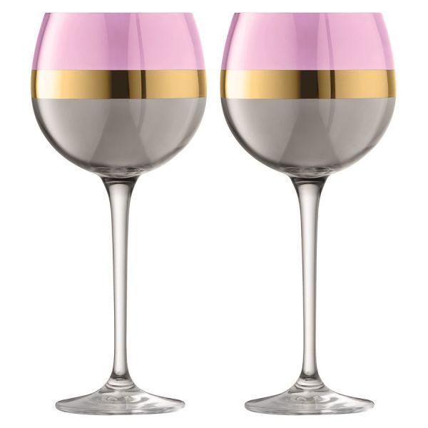 Набор из 2 круглых бокалов Bangle 525 мл розовый G1338-19-195