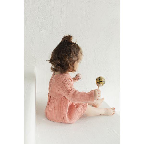 Платье с длинным рукавом из хлопкового муслина цвета пыльной розы из коллекции essential 3-4y TK20-KIDS-DRL0009
