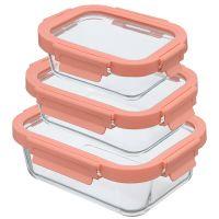 Набор из 3 прямоугольных контейнеров для еды розовый Smart Solutions ID301RC_488C