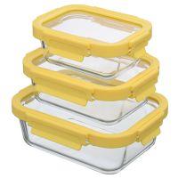 Набор из 3 прямоугольных контейнеров для еды желтый Smart Solutions ID301RC_127C