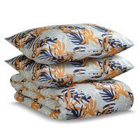 Комплект постельного белья двуспальный из сатина цвета шафрана с принтом leaves из коллекции wild TK20-DC0025