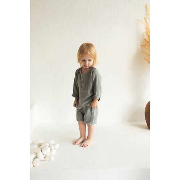 Рубашка из хлопкового муслина серого цвета из коллекции essential 12-18m TK20-KIDS-SHI0006