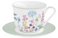 Чашка с блюдцем Цветение, 0,37 л Easy Life EL-R1110/FLRA