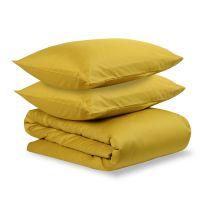 Комплект постельного белья полутораспальный из сатина горчичного цвета из коллекции essential TK19-DC0010