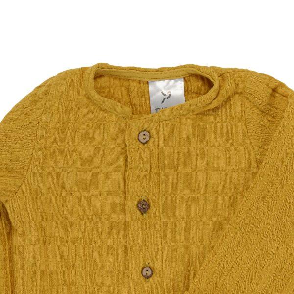 Комбинезон с длинным рукавом из хлопкового муслина горчичного цвета из коллекции essential 12-18m TK20-KIDS-JSL0002