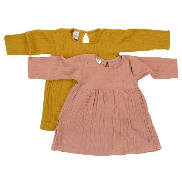 Платье с длинным рукавом из хлопкового муслина горчичного цвета из коллекции essential 18-24m TK20-KIDS-DRL0002