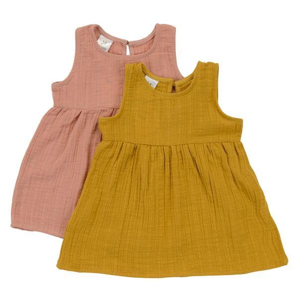 Платье без рукава из хлопкового муслина горчичного цвета из коллекции essential 12-18m TK20-KIDS-DRS0001
