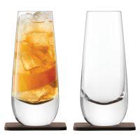 Набор бокалов на подставке из ореха Whisky islay 2 шт 325 мл G1213-11-301