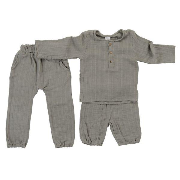Штаны из хлопкового муслина серого цвета из коллекции essential 3-4y TK20-KIDS-PNT0010