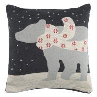 Чехол на подушку вязаный с новогодним рисунком polar bear из коллекции new year essential, 45х45 см TK20-CC0003