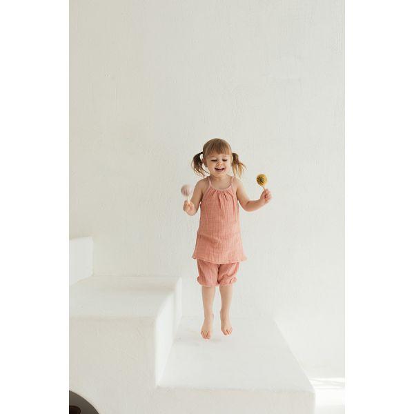 Топ из хлопкового муслина цвета пыльной розы из коллекции essential 24-36m TK20-KIDS-TOP0007