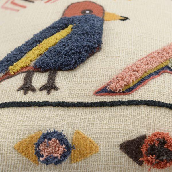 Чехол на подушку в этническом стиле с помпонами и вышивкой Птицы из коллекции ethnic, 45х45 см