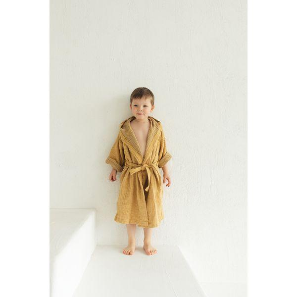 Халат из жатого хлопка горчичного цвета из коллекции essential 4-5y TK20-KIDS-BHR0004