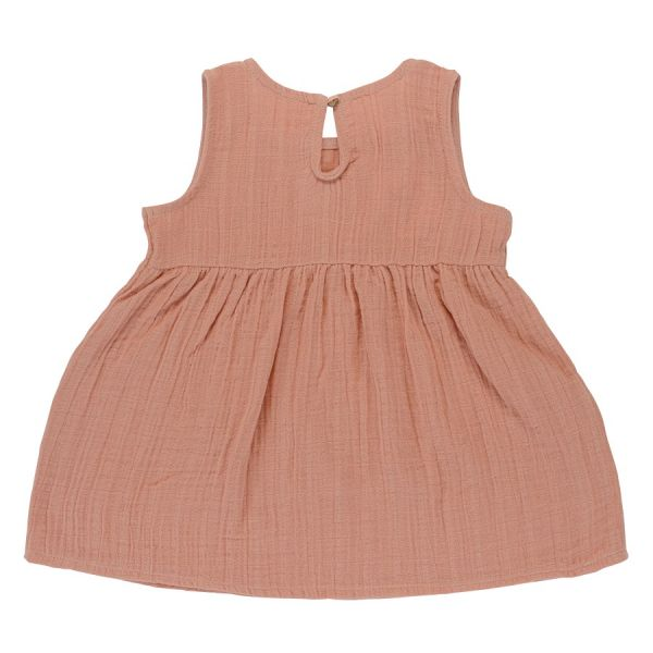 Платье без рукава из хлопкового муслина цвета пыльной розы из коллекции essential 4-5y TK20-KIDS-DRS0010