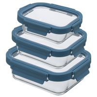 Набор из 3 прямоугольных контейнеров для еды темно-синий Smart Solutions ID301RC_7708C