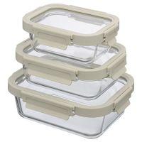 Набор из 3 прямоугольных контейнеров для еды светло-бежевый Smart Solutions ID301RC_7534C