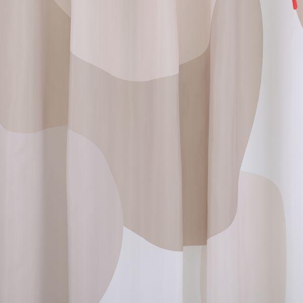 Штора для ванной бежевого цвета с авторским принтом из коллекции freak fruit