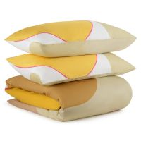Комплект постельного белья из сатина горчичного цвета с авторским принтом из коллекции freak fruit