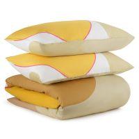 Комплект постельного белья из сатина горчичного цвета с авторским принтом из коллекции freak fruit TK20-DC0047